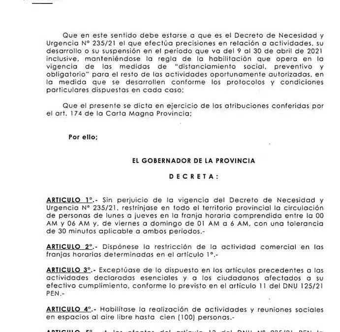 EL MUNICIPIO DE GILBERT INFORMA LAS NUEVAS MEDIDAS  ESTABLECIDAS POR EL GOBIERNO DE ENTRE RÍOS PARA TODO EL TERRITORIO PROVINCIAL.
