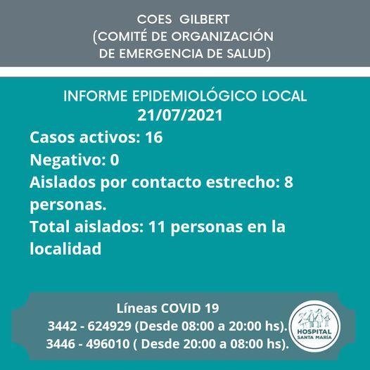 INFORME EPIDEMIOLOGICO GILBERT 21/07/2021